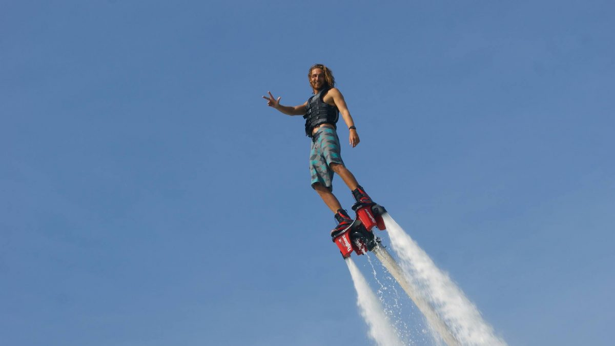 A man enjoying flyboarding and jetski in Dubai