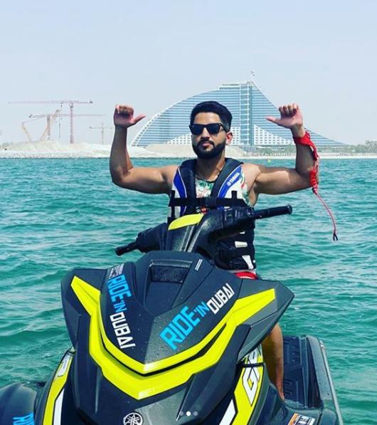 A man riding a jetski in Dubai